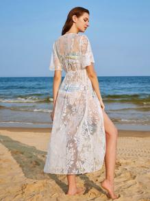 كيمونو الشاطئ كم قصير لنساء