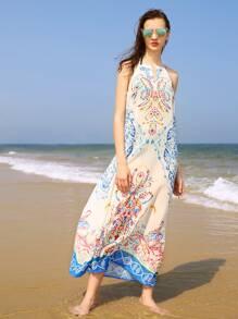 Vintage Print Keyhole Front Beach Dress