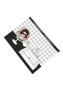 Grid & Girl Print Clear Pouch