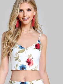 Spaghetti Strap Floral Print Crop CREAM RED