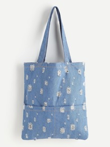 Distressed Denim Tote Bag