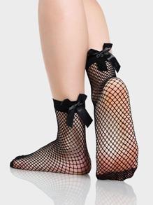 Fishnet Bow Socks BLACK