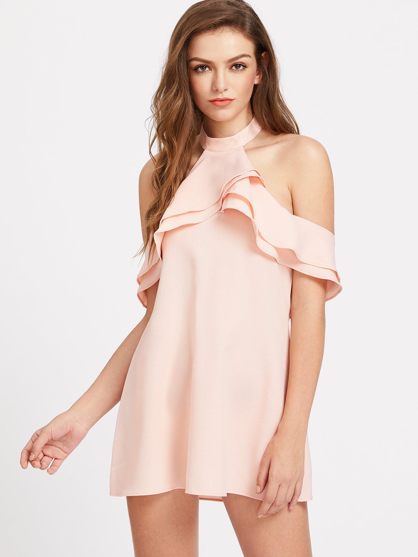 Фото Layered Frill Trim Open Back Halter Dress. Купить с доставкой