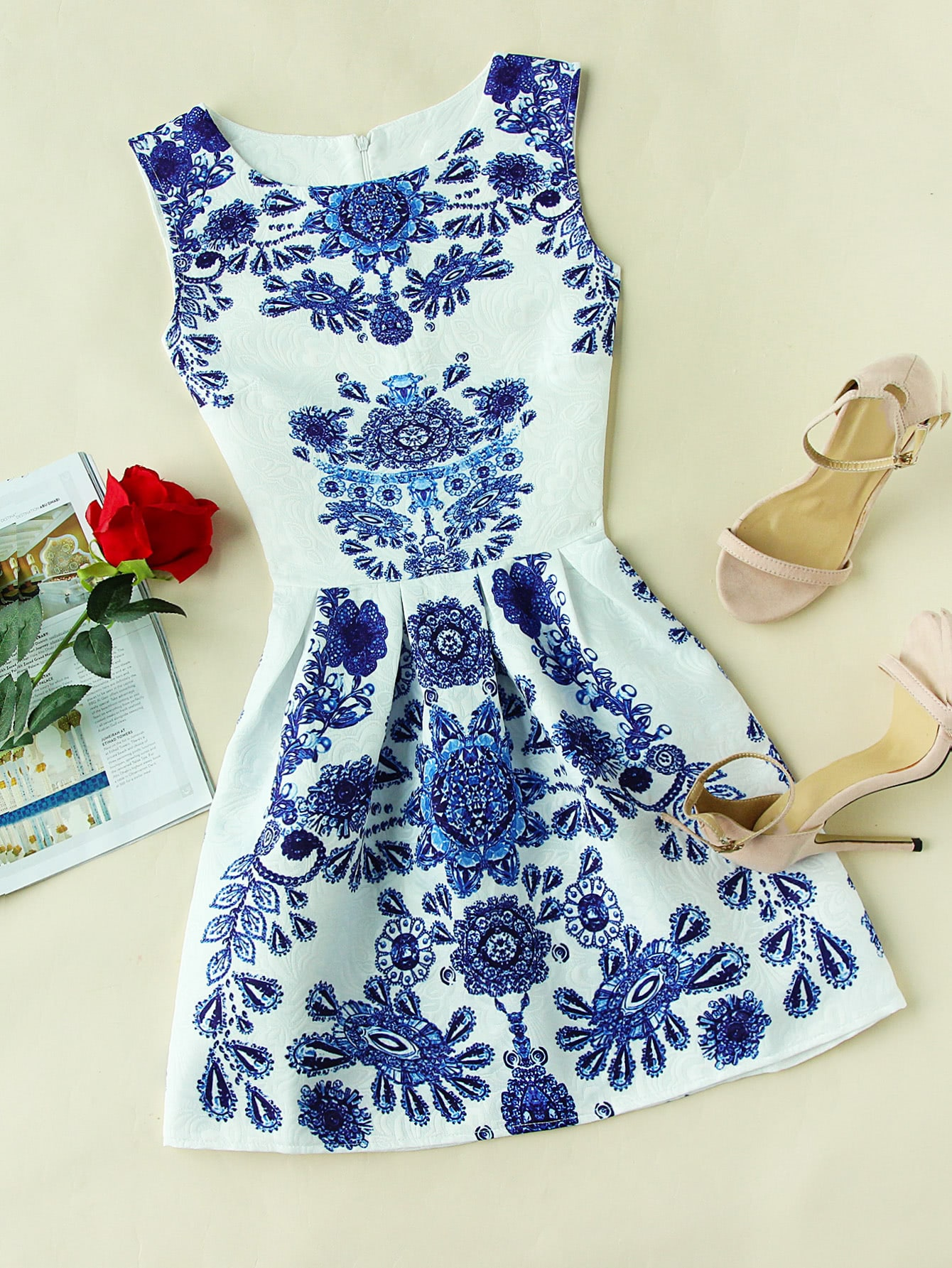 Фото Porcelain Print Embossed Fit & Flare Dress. Купить с доставкой