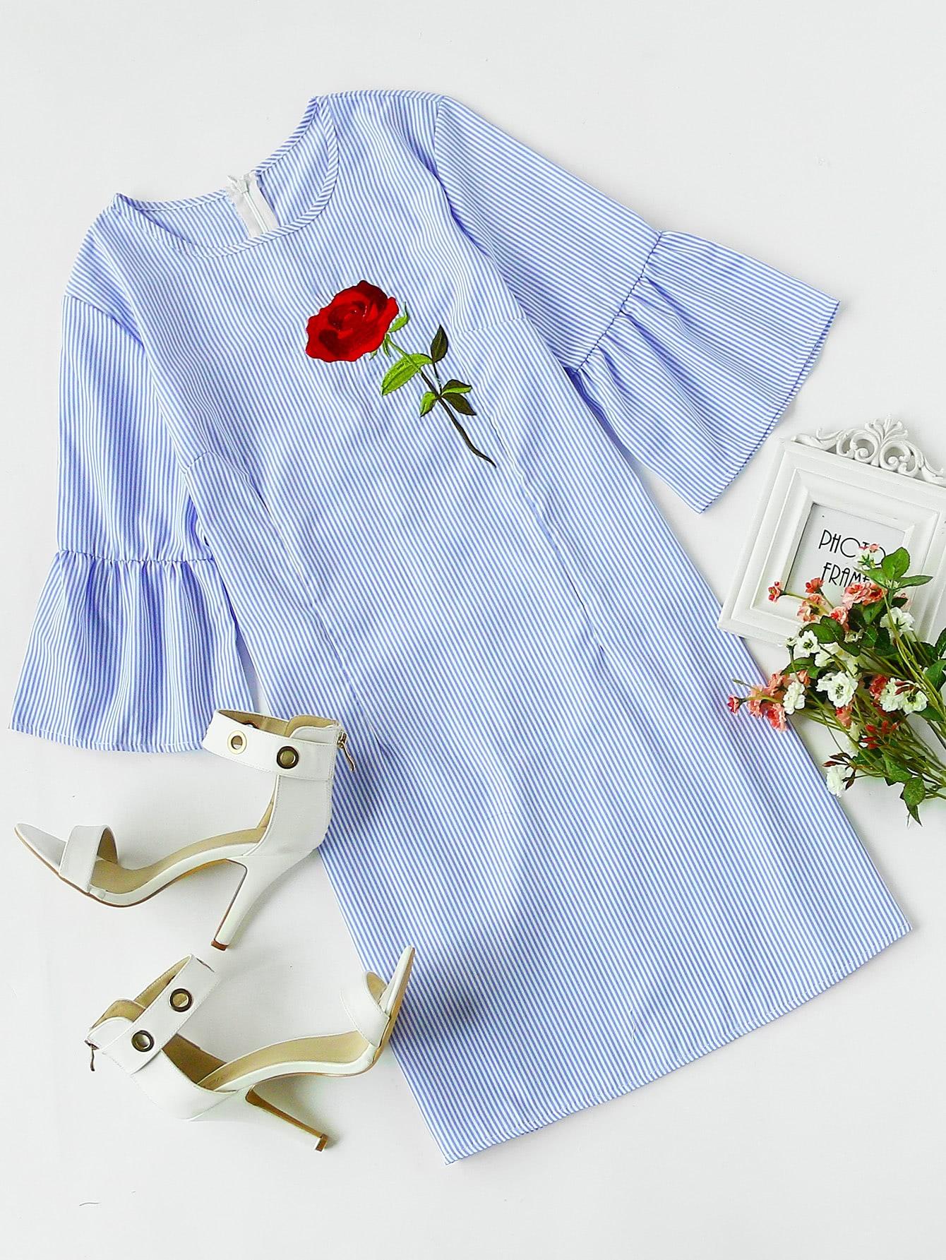 Фото Rose Embroidered Bell Sleeve Striped Dress. Купить с доставкой