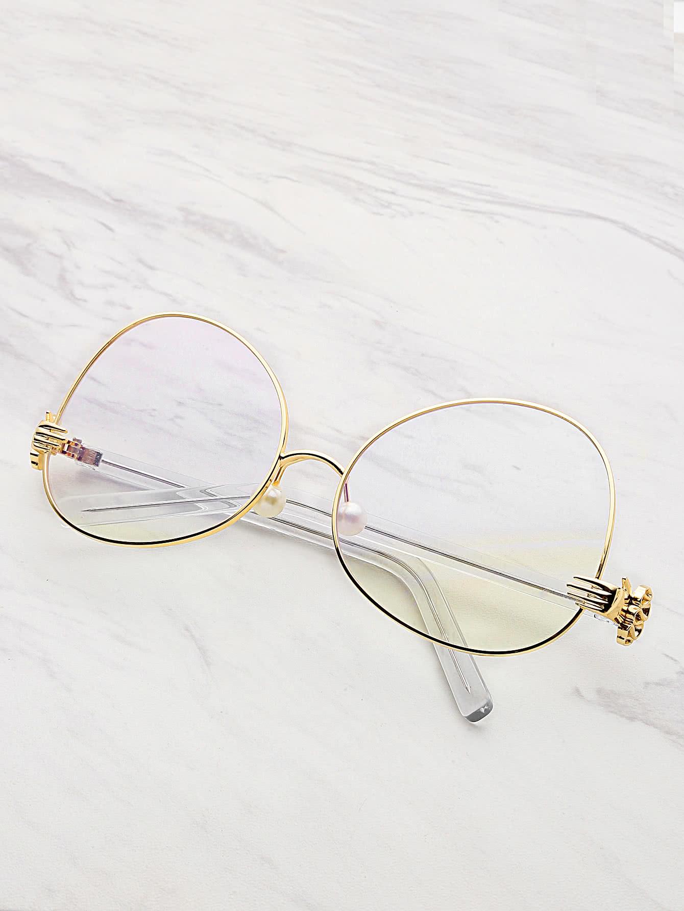 Фото Contrast Frame Oval Lens Glasses With Faux Pearl. Купить с доставкой