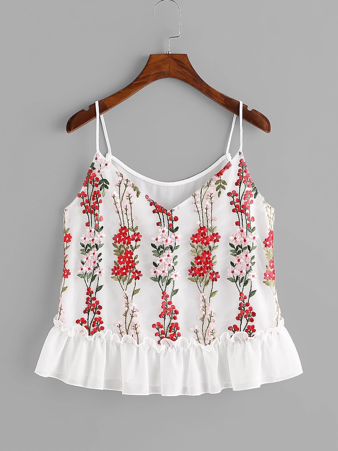 Фото Blossom Embroidery Tulle Overlay Ruffle Cami Top. Купить с доставкой