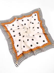 Polka Dot Print Striped Trim Bandana