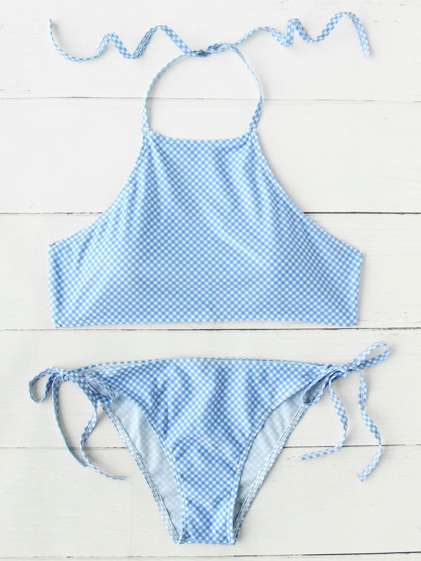 Фото Gingham Print Side Tie Bikini Set. Купить с доставкой