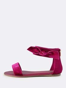 Side Bow Velvet Sandals MAGENTA