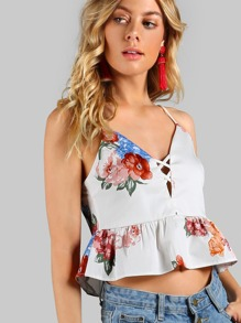 Floral Print Peplum Crop Top OFF WHITE