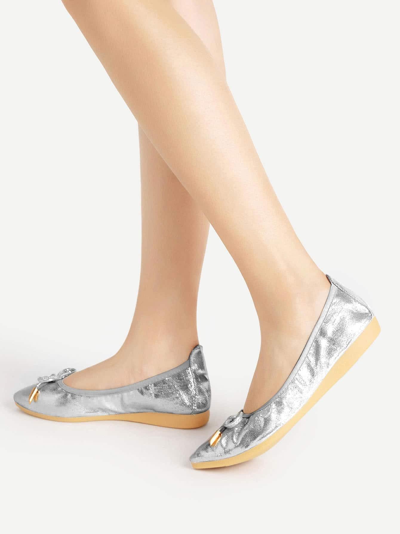 Фото Bow Tie Pointed Toe PU Flats. Купить с доставкой