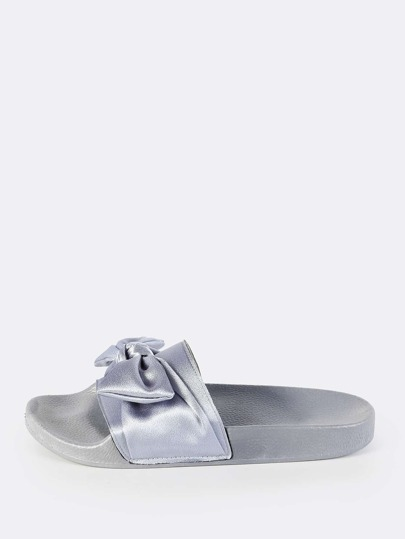 Satin Bow Slip Ons GREY