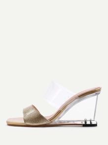 Metallic Design Clear Wedge Sandals