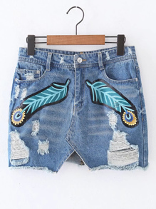 Ripped Detail Denim Mini Skirt
