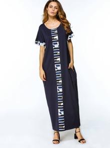 Contrast Camo Panel Full Length Dress