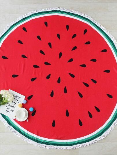 Watermelon Print Fringe Trim Round Beach Blanket