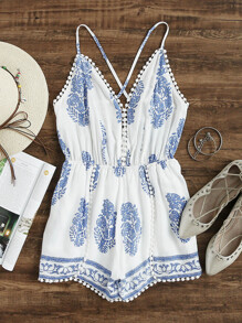 Leaf Print Criss Cross Back Pom Pom Romper