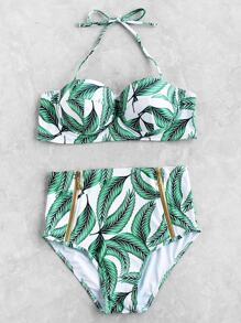 Leaf Print Front Zipper High Waist Bikini Set
