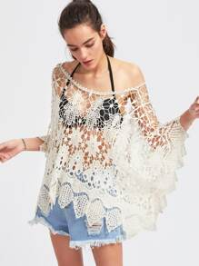 Boat Neck Kimono Sleeve Crochet Cover Up Top