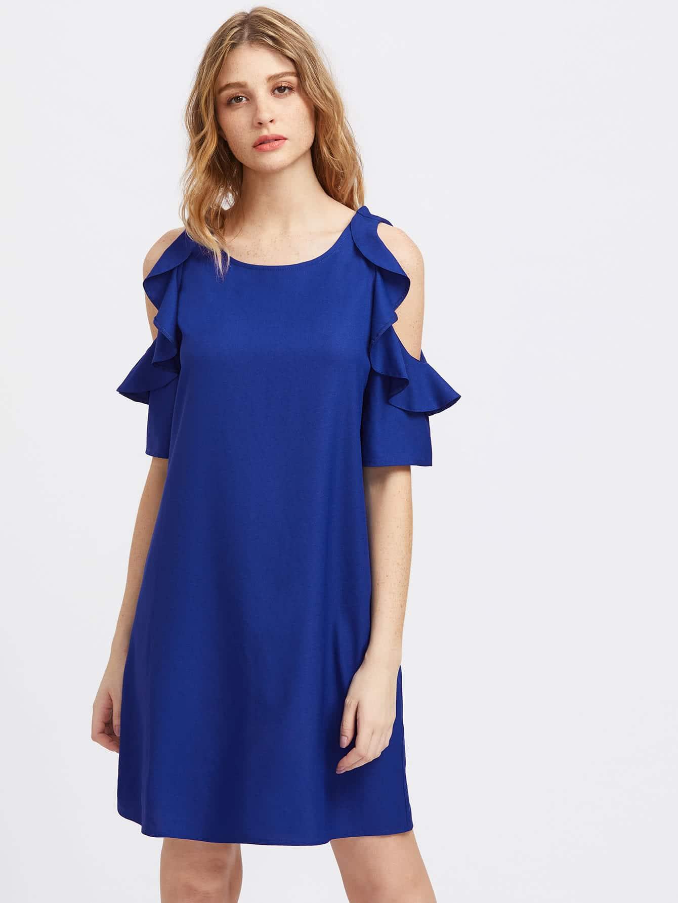 Frilled Open Shoulder Dress dress170519705