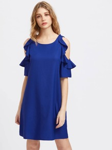 Frilled Open Shoulder Dress