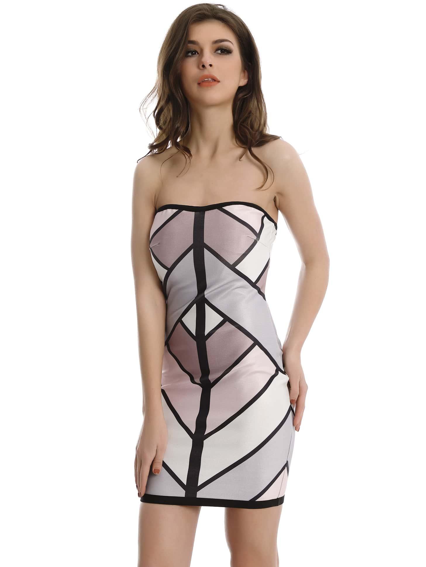 Фото Color-block Zipper Back Bandeau Dress. Купить с доставкой