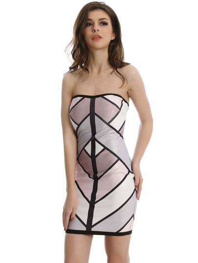 Color-block Zipper Back Bandeau Dress