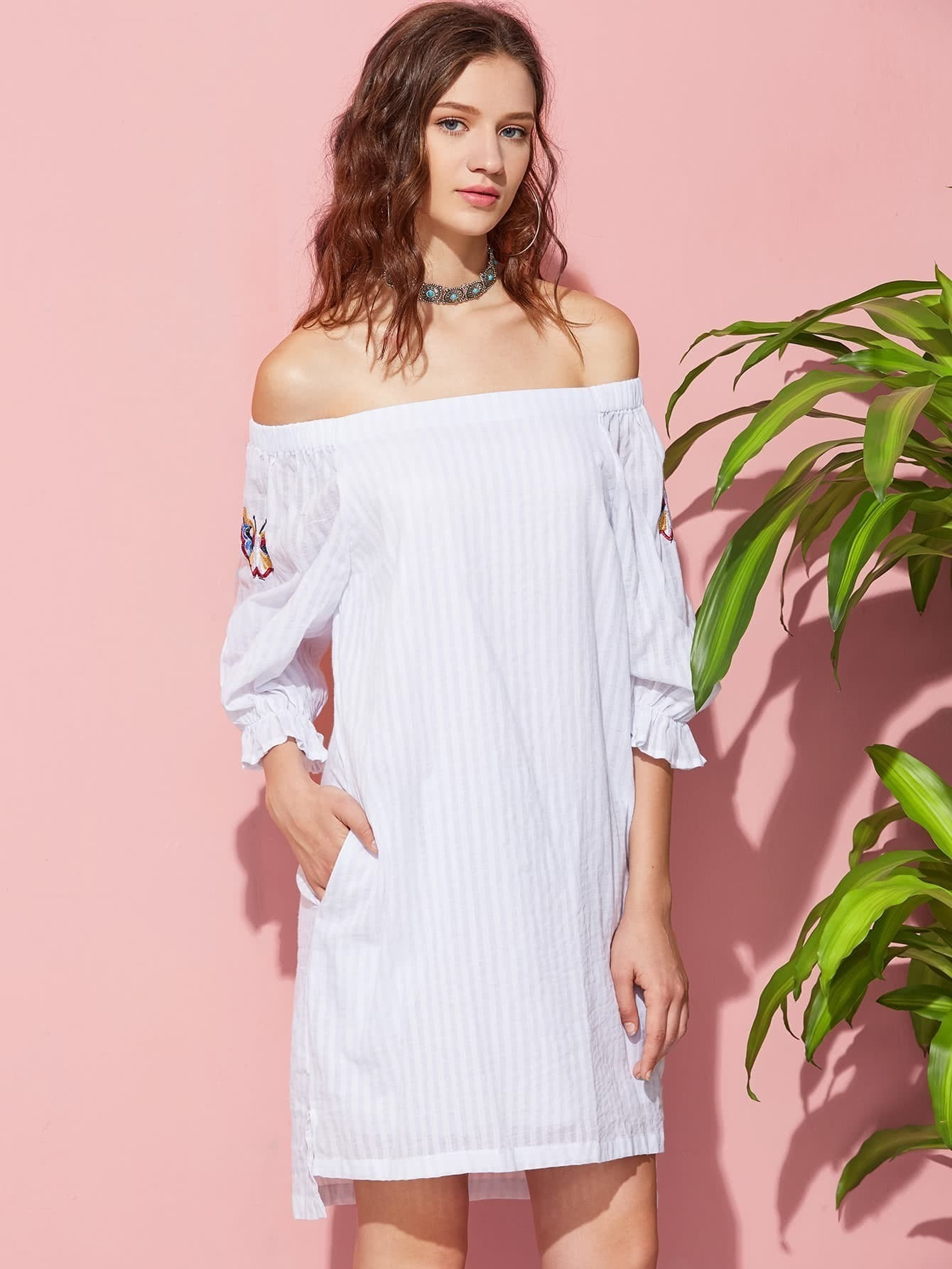 Butterfly embroidered fluted sleeve stepped hem bardot