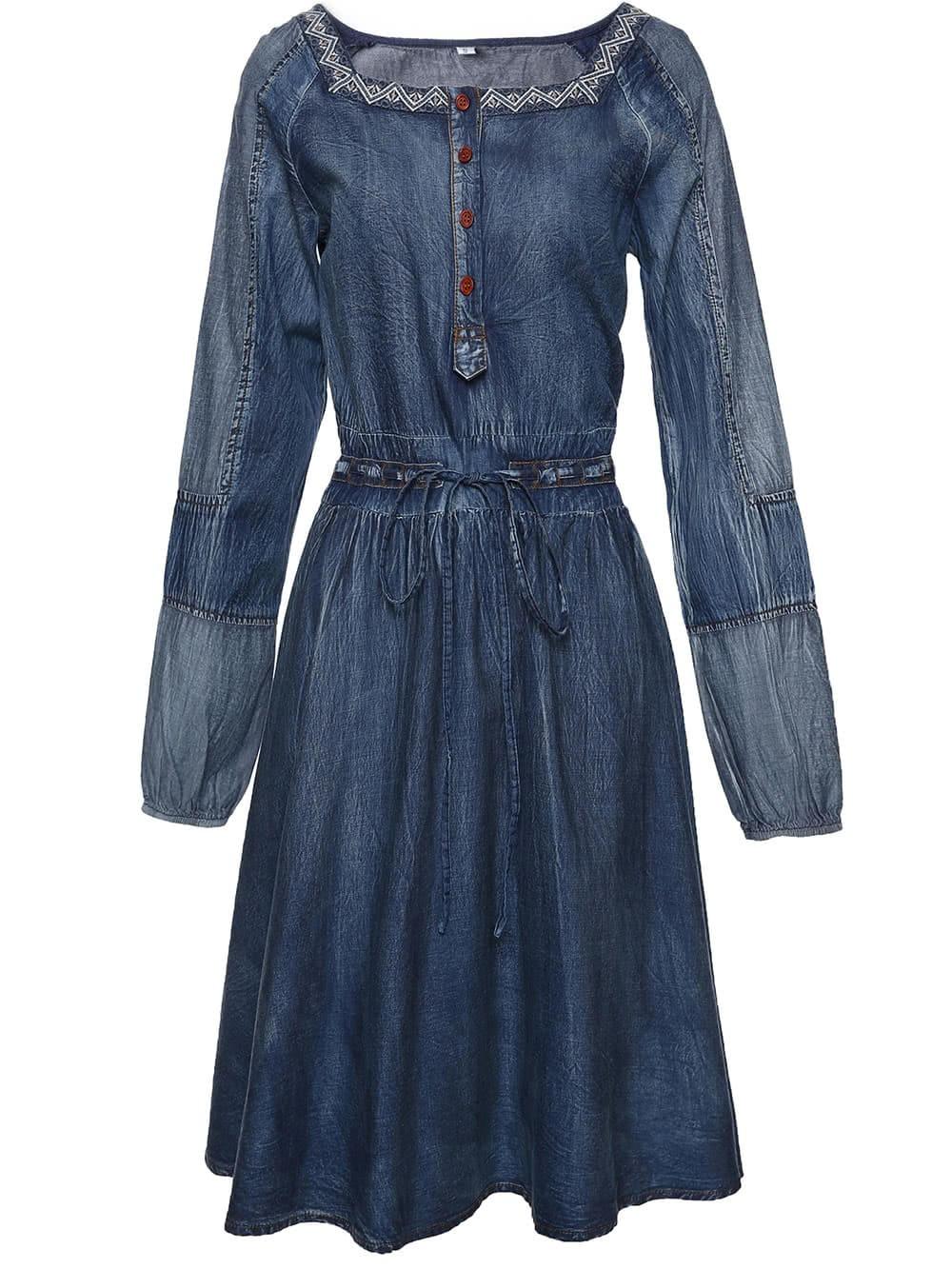 Фото Boat Neck Drawstring Denim Dress. Купить с доставкой