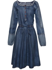 Boat Neck Drawstring Denim Dress