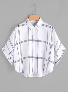 Blusa de manga de doblez con estampado de cuadrados