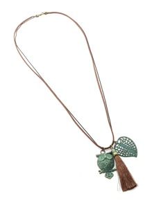Owl & Tassel & Leaf Pendant Necklace