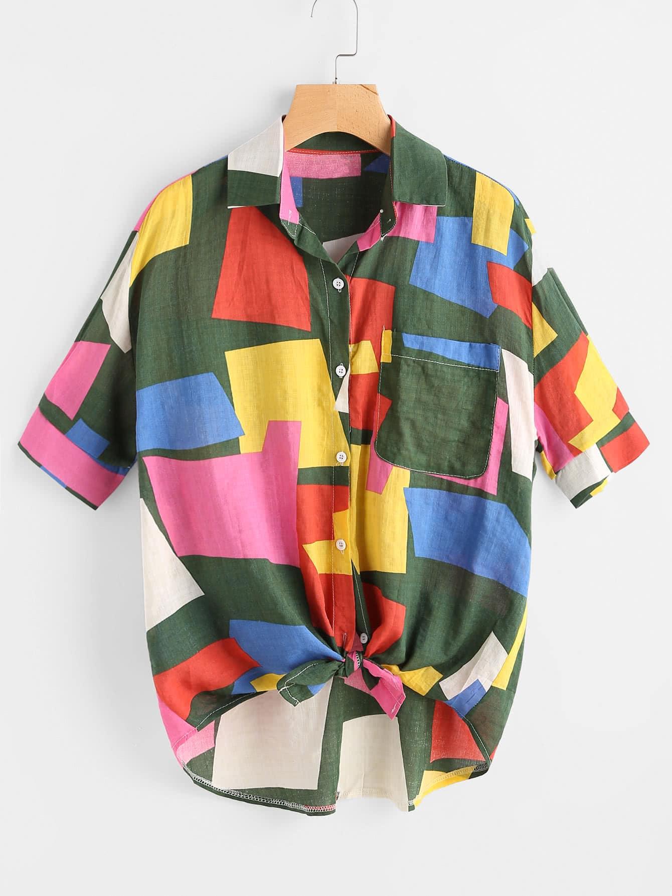 Patchwork Knotted Hem Shirt