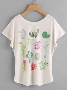 Cactaceae Print Dolman Sleeve Tee