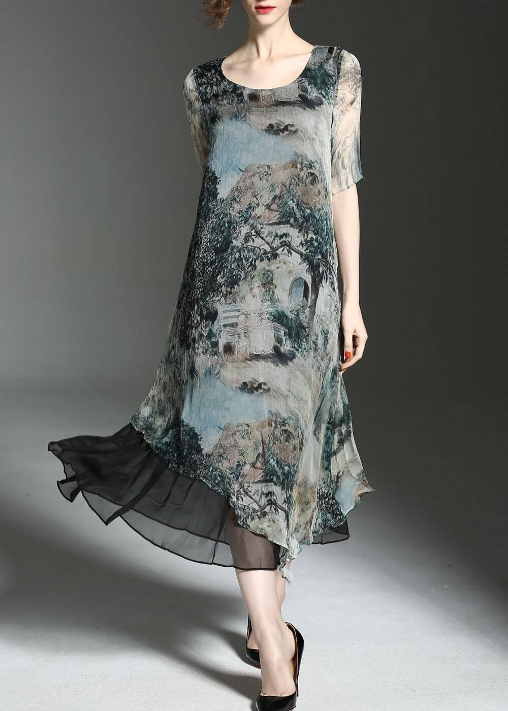 Фото Vintage Print Asymmetric Dress. Купить с доставкой