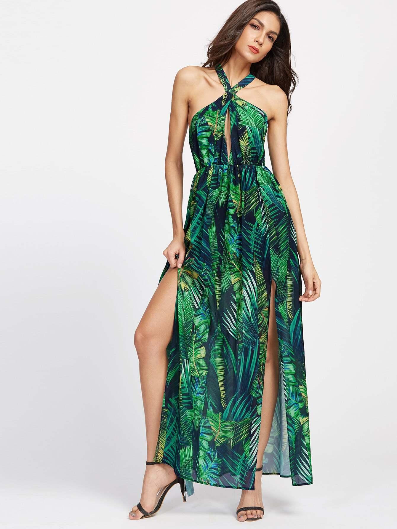 Фото Keyhole Cross Neck Foliage Print Backless M-Slit Dress. Купить с доставкой