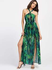Keyhole Cross Neck Foliage Print Backless M-Slit Dress