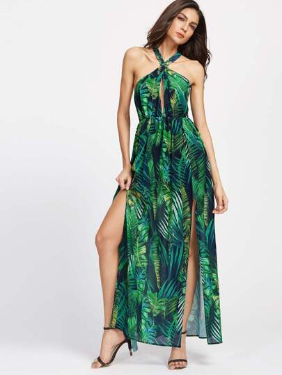 Keyhole Cross Neck Foliage Print Backless M-Slit Dress