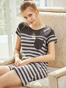 Contrast Striped Nightdress