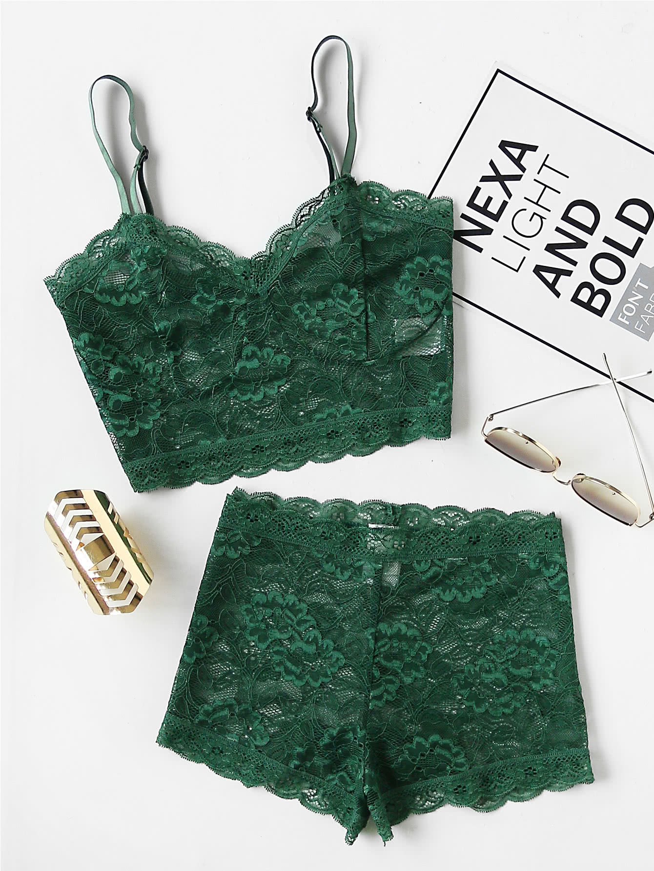 Floral Lace Bustier Top And Shorts Pajama Set high low top and frill hem shorts pajama set