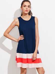 Cut And Sew Wide Stripe Hem Swing Tank Dress