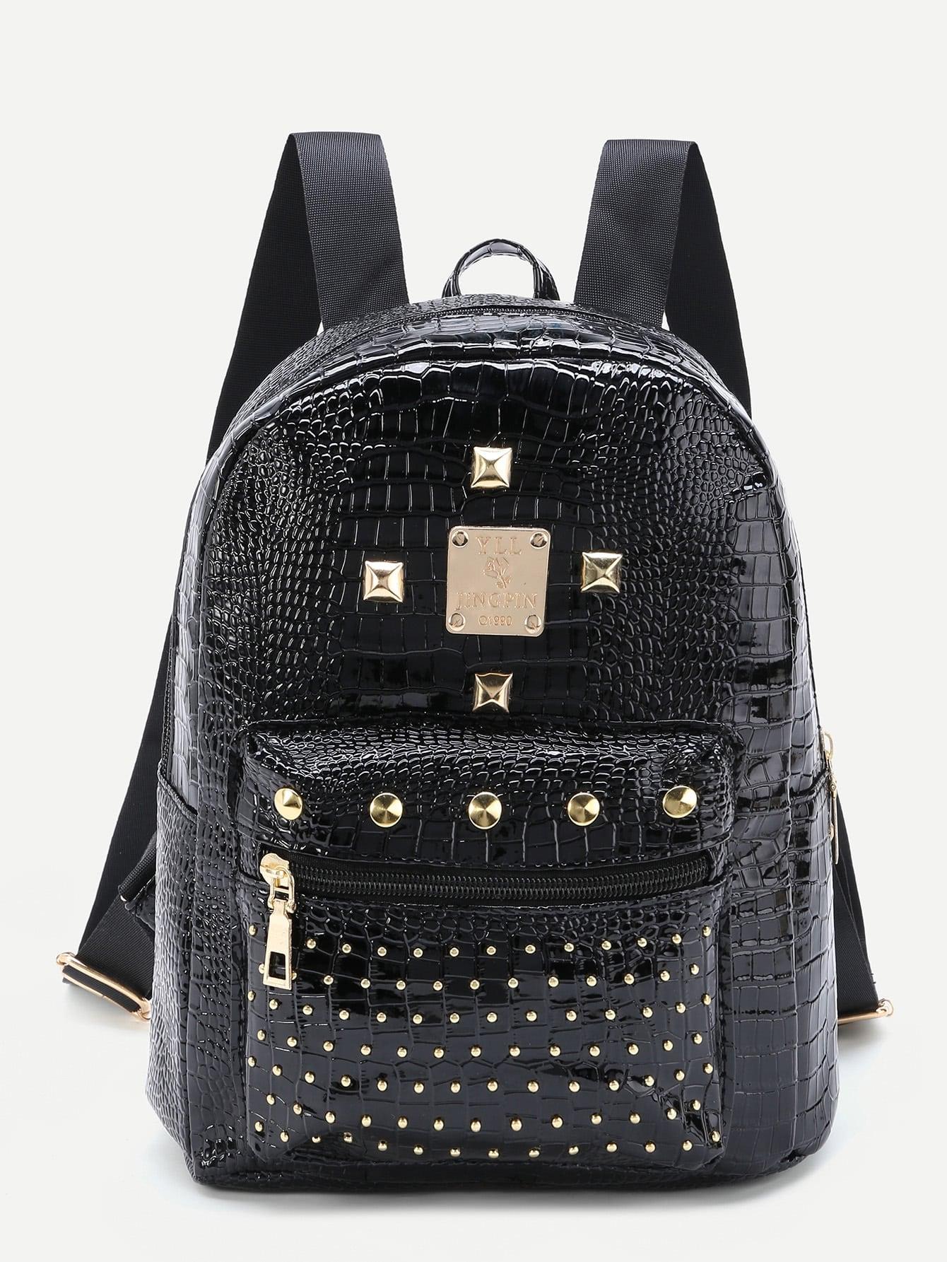 Фото Studded Detail Crocodile Backpack. Купить с доставкой