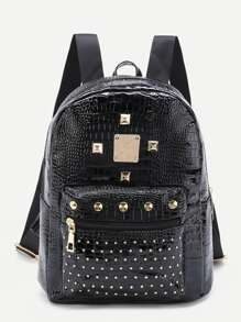 Studded Detail Crocodile Backpack