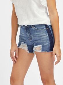Pantaloncini di jeans di blocco di colore con strappi