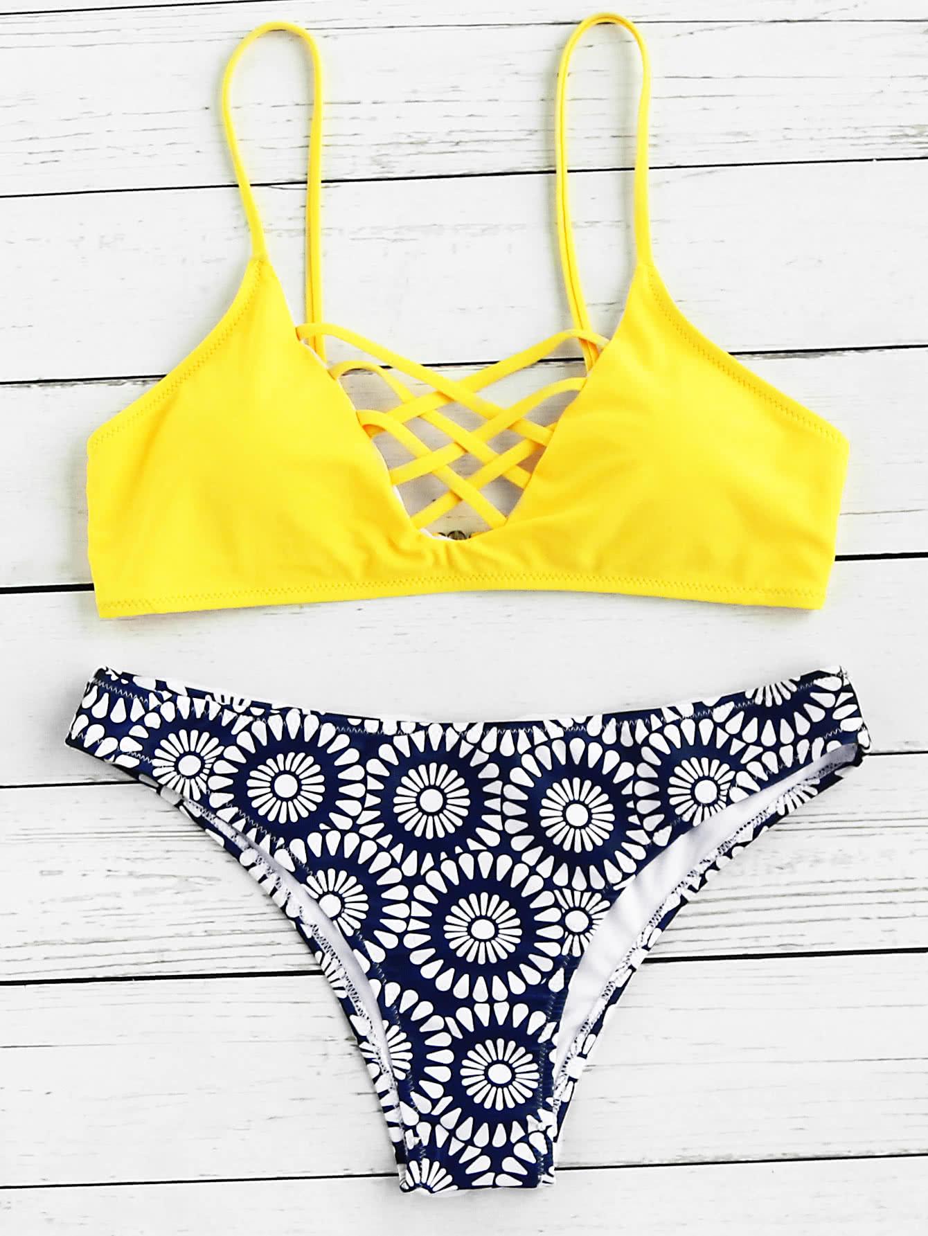 Criss Cross Front Mix & Match Bikini Set cross wrap mix and match bikini set