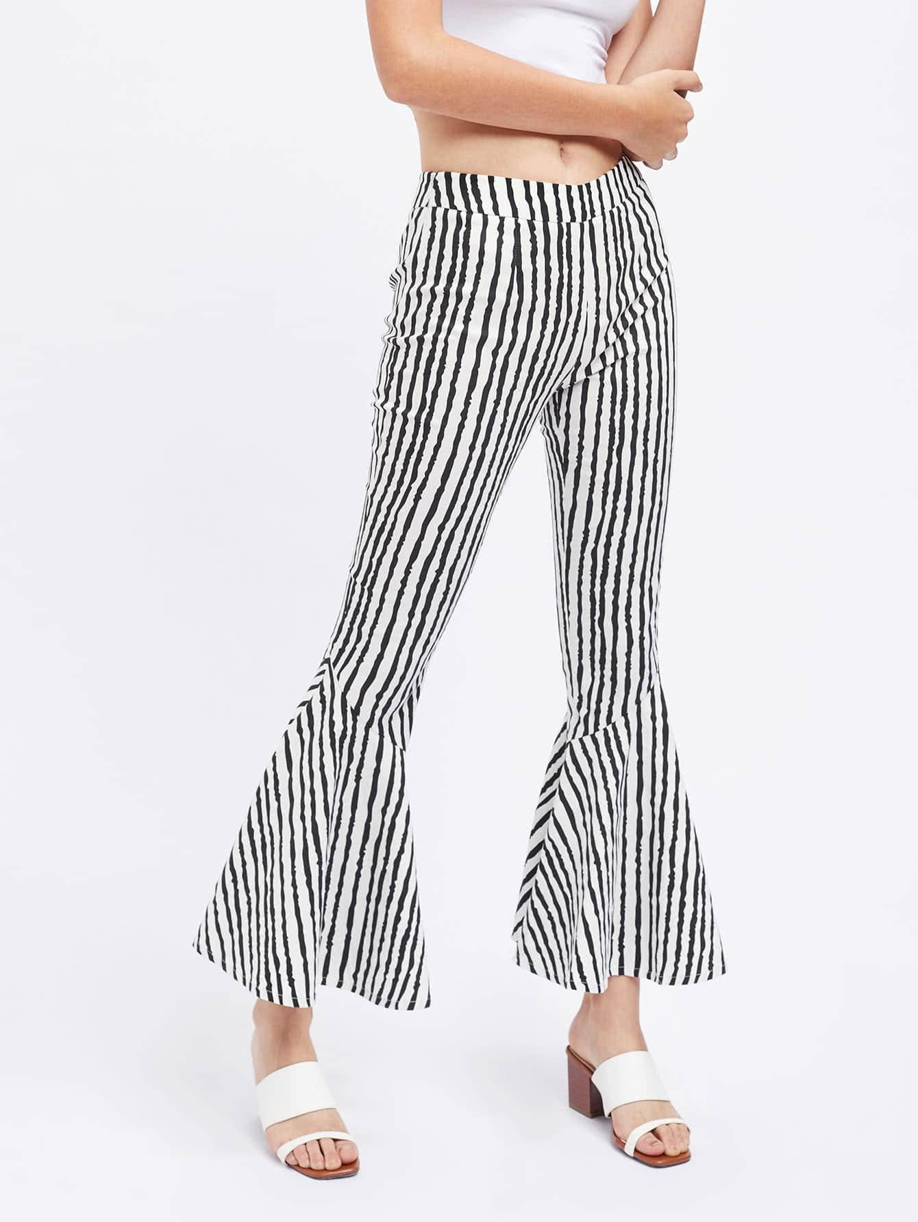 Фото Brush Stroke Stripe Print Flared Pants. Купить с доставкой