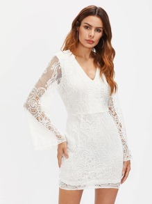 Crochet Lace Zipper Back Bodycon Dress