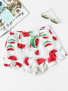 Pantaloncini con stampa di anguria