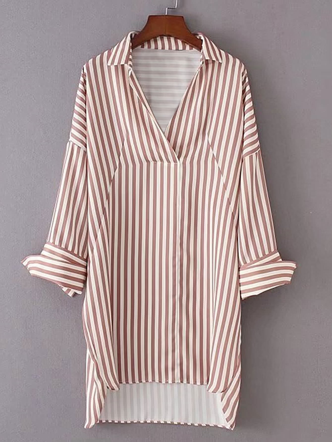 Vertical Striped High Low Shirt Dress dress170524202